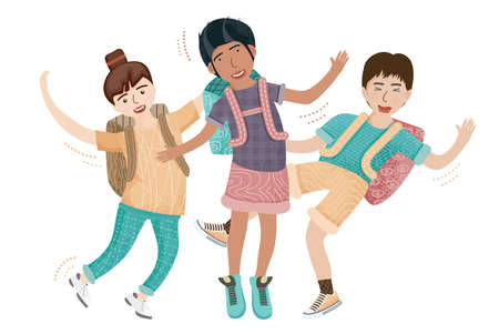 Group of Jumping Friends. Vector Illustration. Portrait of Smiling Teenage Boys and Girl or School Friends. Schoolboys Isolated on White.