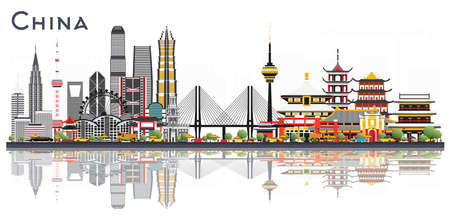 China City Skyline Isolated on White Background. Famous Landmarks in China. Vector Illustration. Business Travel and Tourism Concept.
