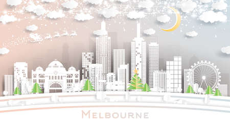 Melbourne Australia City Skyline in Paper Cut Style with Snowflakes, Moon and Neon Garland. Vector Illustration. Christmas and New Year Concept. Santa Claus on Sleigh.