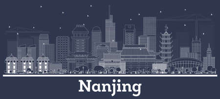 Outline Nanjing China City Skyline with White Buildings. Vector Illustration. Business Travel and Tourism Concept with Historic Architecture. Nanjing Cityscape with Landmarks.