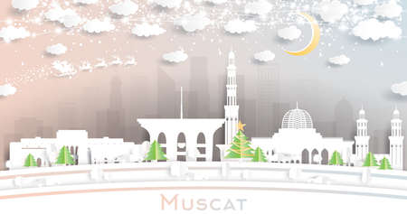 Muscat Oman City Skyline in Paper Cut Style with Snowflakes, Moon and Neon Garland. Vector Illustration. Christmas and New Year Concept. Santa Claus on Sleigh. 向量圖像