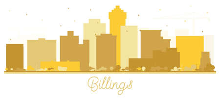 Billings Montana City Skyline Silhouette with Golden Buildings Isolated on White. Vector Illustration. Business Travel and Tourism Concept with Modern Architecture. Billings USA Cityscape with Landmarks.
