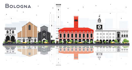 Bologna Italy City Skyline with Color Buildings and Reflections Isolated on White. Vector Illustration. Bologna Cityscape with Landmarks. Tourism Concept with Historyc Architecture.