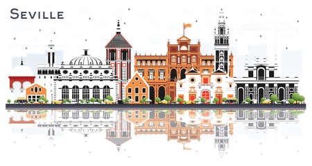 Seville Spain City Skyline with Color Buildings and Reflections Isolated on White. Vector Illustration. Tourism Concept with Historic and Modern Architecture. Seville Cityscape with Landmarks.