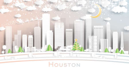 Houston Texas USA City Skyline in Paper Cut Style with Snowflakes, Moon and Neon Garland. Vector Illustration. Christmas and New Year Concept. Santa Claus on Sleigh. 向量圖像