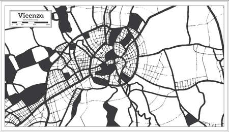 Vicenza Italy City Map in Black and White Color in Retro Style. Outline Map. Vector Illustration.