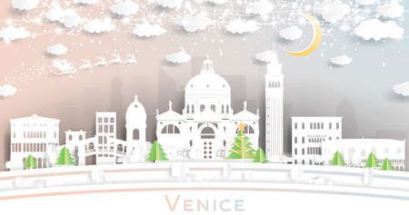 Venice Italy City Skyline in Paper Cut Style with Snowflakes, Moon and Neon Garland. Vector Illustration. Christmas and New Year Concept. Santa Claus on Sleigh.