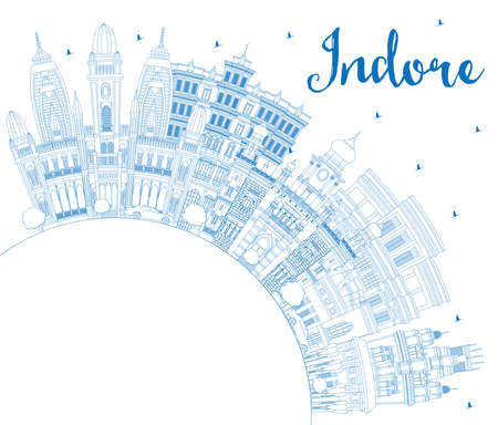 Outline Indore India City Skyline with Blue Buildings and Copy Space. Vector Illustration. Business Travel and Tourism Concept with Historic and Modern Architecture. Indore Madhya Pradesh Cityscape with Landmarks. Illustration
