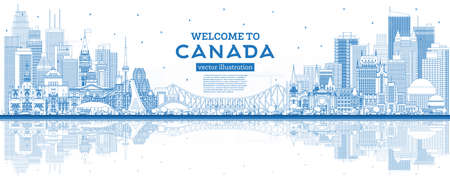 Outline Welcome to Canada City Skyline with Blue Buildings. Vector Illustration. Concept with Historic Architecture. Canada Cityscape with Landmarks. Ottawa. Toronto. Montreal. Vancouver. 向量圖像