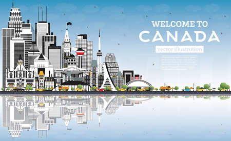 Welcome to Canada City Skyline with Gray Buildings and Blue Sky. Vector Illustration. Concept with Historic Architecture. Canada Cityscape with Landmarks. Ottawa. Toronto. Montreal. Vancouver.