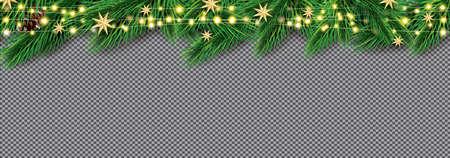 Fir Branches with Neon Lights. Christmas Decoration with Golden Stars. Garlands with Sparkle Stars on Transparent Background. Vector illustration. Ilustração