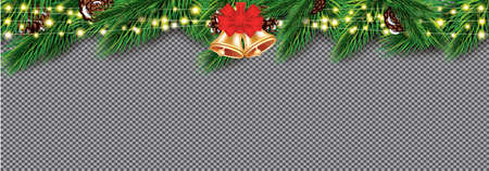 Fir Branches with Neon Lights. Christmas Decoration with Golden Bells and Red Bow. Garlands with Sparkle Stars on Transparent Background. Vector illustration.