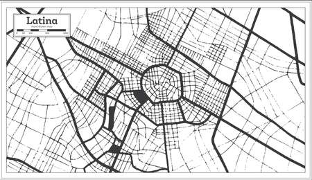 Latina Italy City Map in Black and White Color in Retro Style. Outline Map. Vector Illustration.