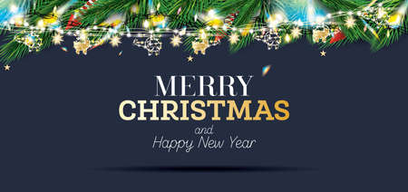 Fir Branches with Neon Lights and Golden Garland with Helicopters on Blue Background. Christmas Decoration with Colorful Twinkles. Merry Christmas and Happy New Year. Vector illustration.