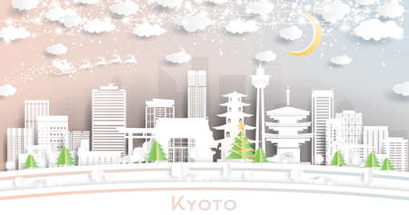 Kyoto Japan City Skyline in Paper Cut Style with Snowflakes, Moon and Neon Garland. Vector Illustration. Christmas and New Year Concept. Santa Claus on Sleigh.