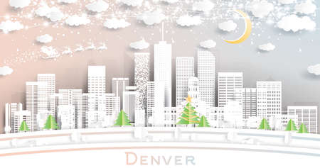 Denver Colorado USA City Skyline in Paper Cut Style with Snowflakes, Moon and Neon Garland. Vector Illustration. Christmas and New Year Concept. Santa Claus on Sleigh.