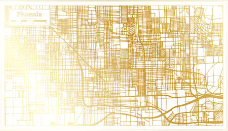 Phoenix USA City Map in Retro Style in Golden Color. Outline Map. Vector Illustration. Ilustrace