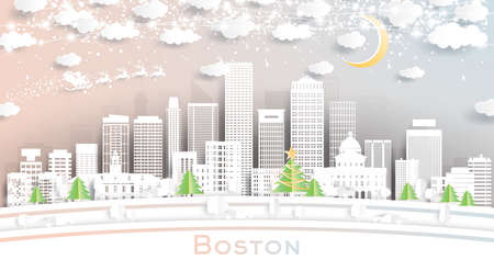Boston Massachusetts USA City Skyline in Paper Cut Style with Snowflakes, Moon and Neon Garland. Vector Illustration. Christmas and New Year Concept. Santa Claus on Sleigh.