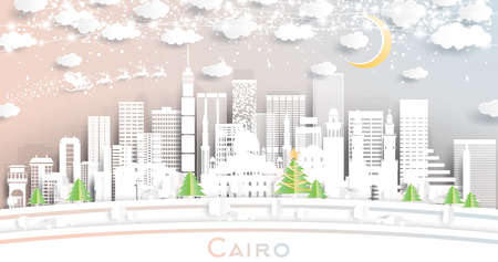 Cairo Egypt City Skyline in Paper Cut Style with Snowflakes, Moon and Neon Garland. Vector Illustration. Christmas and New Year Concept. Santa Claus on Sleigh.