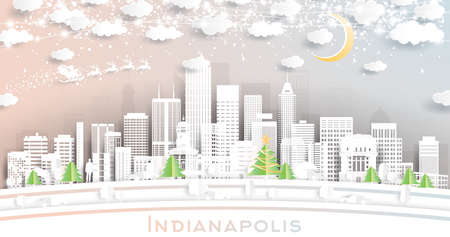 Indianapolis Indiana USA City Skyline in Paper Cut Style with Snowflakes, Moon and Neon Garland. Vector Illustration. Christmas and New Year Concept. Santa Claus on Sleigh.