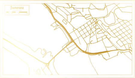 Juneau USA City Map in Retro Style in Golden Color. Outline Map. Vector Illustration.