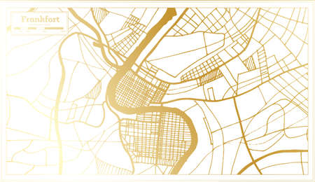 Frankfort USA City Map in Retro Style in Golden Color. Outline Map. Vector Illustration.
