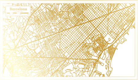 Barcelona Spain City Map in Retro Style in Golden Color. Outline Map. Vector Illustration. Ilustrace