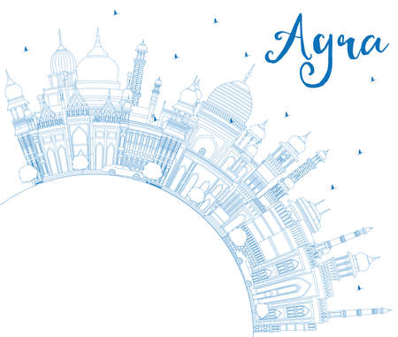 Outline Agra India City Skyline with Blue Buildings and Copy Space. Vector Illustration. Business Travel and Tourism Concept with Historic Architecture. Agra Uttar Pradesh Cityscape with Landmarks.