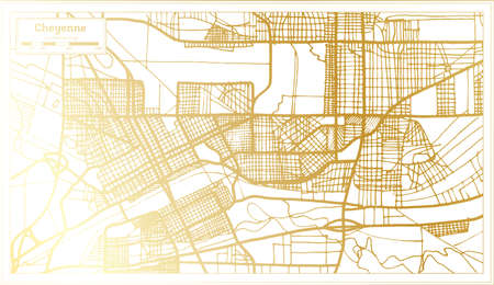 Cheyenne USA City Map in Retro Style in Golden Color. Outline Map. Vector Illustration.