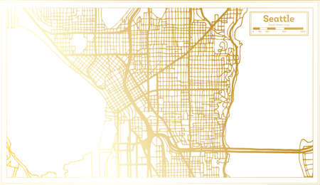 Seattle USA City Map in Retro Style in Golden Color. Outline Map. Vector Illustration. Ilustrace