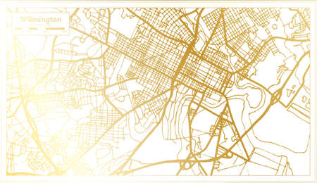 Wilmington USA City Map in Retro Style in Golden Color. Outline Map. Vector Illustration. Ilustrace