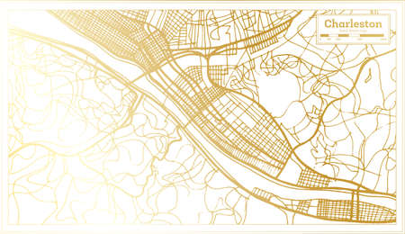 Charleston USA City Map in Retro Style in Golden Color. Outline Map. Vector Illustration.
