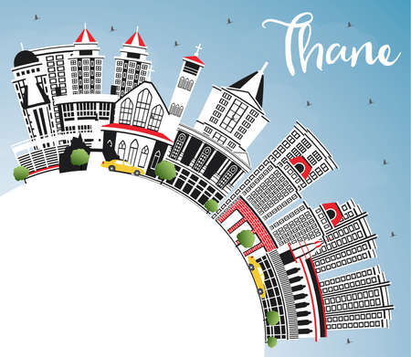 Thane India City Skyline with Gray Buildings, Blue Sky and Copy Space. Vector Illustration. Business Travel and Tourism Concept with Historic and Modern Architecture. Thane Cityscape with Landmarks.