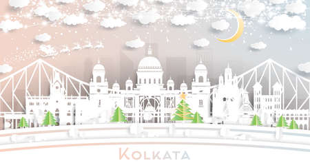 Kolkata (Calcutta) India City Skyline in Paper Cut Style with Snowflakes, Moon and Neon Garland. Vector Illustration. Christmas and New Year Concept. Santa Claus on Sleigh. Ilustrace