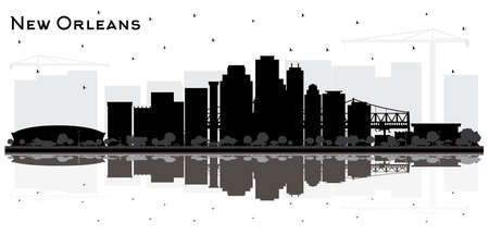 New Orleans Louisiana City Skyline Silhouette with Black Buildings Isolated on White. Vector Illustration. Tourism Concept with Modern Architecture. New Orleans USA Cityscape with Landmarks.