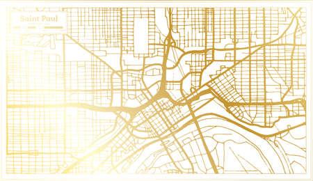 Saint Paul USA City Map in Retro Style in Golden Color. Outline Map. Vector Illustration. Ilustrace