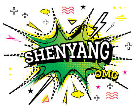Shenyang Comic Text in Pop Art Style Isolated on White Background. Vector Illustration. Ilustrace