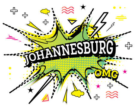 Johannesburg Comic Text in Pop Art Style Isolated on White Background. Vector Illustration. Ilustrace