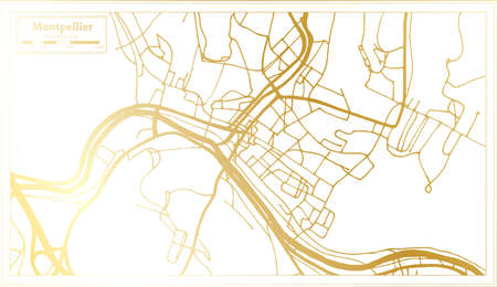 Montpellier USA City Map in Retro Style in Golden Color. Outline Map. Vector Illustration. Ilustrace