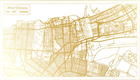 New Orleans USA City Map in Retro Style in Golden Color. Outline Map. Vector Illustration. Ilustrace