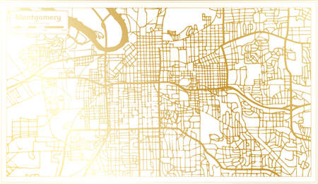 Montgomery USA City Map in Retro Style in Golden Color. Outline Map. Vector Illustration. Ilustrace
