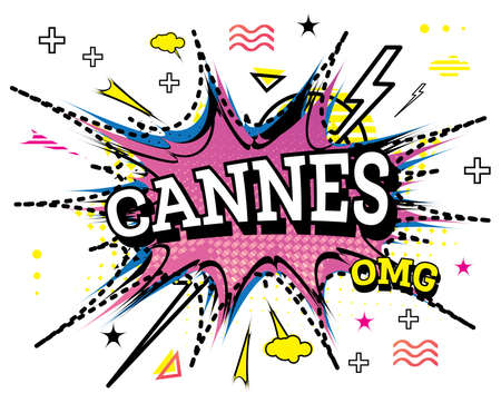 Cannes Comic Text in Pop Art Style Isolated on White Background. Vector Illustration. Ilustrace