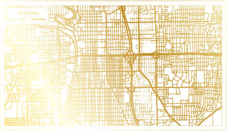 Wichita USA City Map in Retro Style in Golden Color. Outline Map. Vector Illustration. Ilustrace