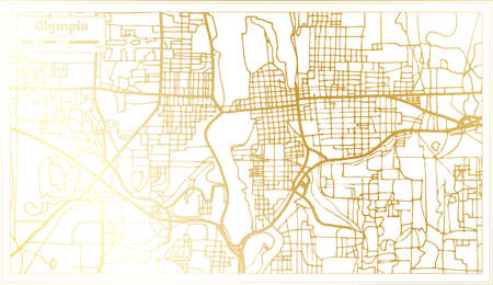Olympia USA City Map in Retro Style in Golden Color. Outline Map. Vector Illustration. Ilustrace