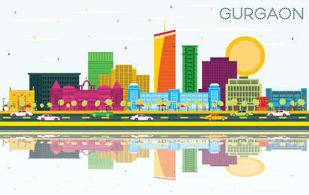 Gurgaon India City Skyline with Color Buildings, Blue Sky and Reflections. Vector Illustration. Business Travel and Tourism Concept with Modern Architecture. Gurgaon Cityscape with Landmarks.