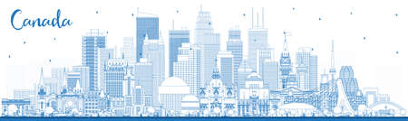 Outline Canada City Skyline with Blue Buildings. Vector Illustration. Concept with Historic Architecture. Canada Cityscape with Landmarks. Ottawa. Toronto. Montreal. Vancouver.