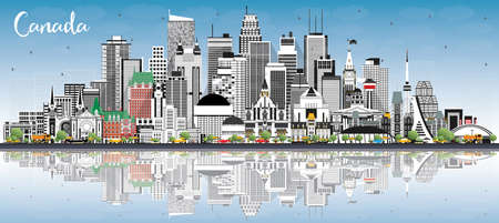 Canada City Skyline with Gray Buildings, Blue Sky and Reflections. Vector Illustration. Concept with Historic Architecture. Canada Cityscape with Landmarks. Ottawa. Toronto. Montreal. Vancouver.