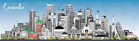 Canada City Skyline with Gray Buildings and Blue Sky. Vector Illustration. Concept with Historic Architecture. Canada Cityscape with Landmarks. Ottawa. Toronto. Montreal. Vancouver.