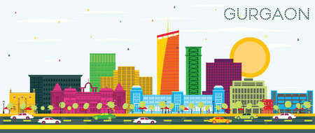 Gurgaon India City Skyline with Color Buildings and Blue Sky. Vector Illustration. Business Travel and Tourism Concept with Modern Architecture. Gurgaon Cityscape with Landmarks. Ilustrace