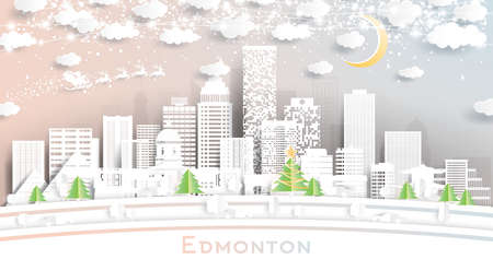 Edmonton Canada City Skyline in Paper Cut Style with Snowflakes, Moon and Neon Garland. Vector Illustration. Christmas and New Year Concept. Santa Claus on Sleigh. Ilustrace